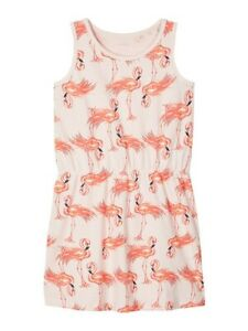 NAME-IT-Sommer-Kleid-NKFVigga-aermellos-Flamingos-rosa-Groesse-116-bis-152