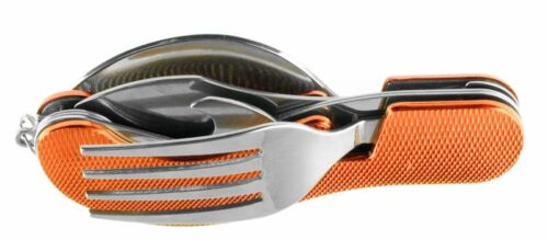 metal red//orange 4 Piece Camping Fork//Knife//Spoon//Bottle Opener Set