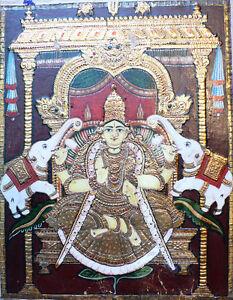 Ancienne Peinture De Thanjavur Tamil Nadu Perles Argent Or Lakshmi Inde 19e Lustre Brillant