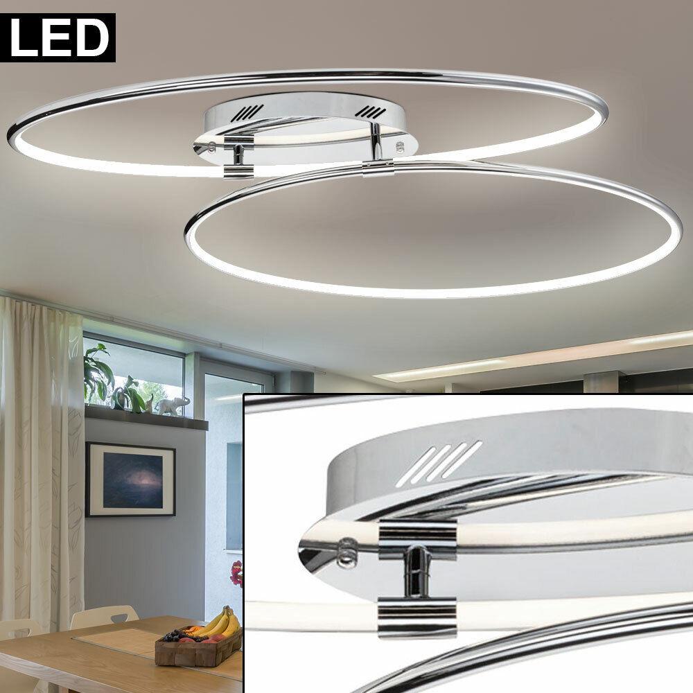 LED Luxus Decken Lampe Arbeits Zimmer Beleuchtung Chrom Ringe Design Leuchte