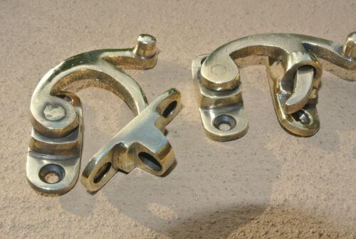 2 small box Latch catch swing arm solid polished brass 5cm doors catch door B