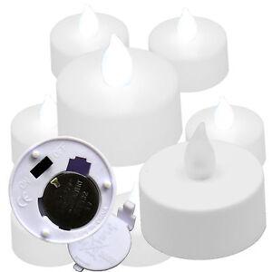 (6) Crisp COOL WHITE Battery Operated Flameless Tea Light Votive Candles