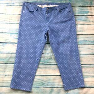 Talbots-Womens-Jeans-size-22W-Blue-White-Polka-Dots-Capris-Croppd-Cotton-Stretch