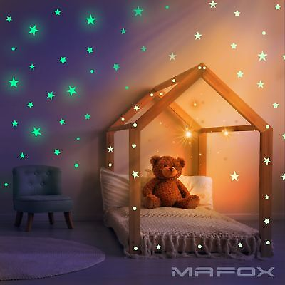Garneck Glow in the Dark Wall Stickers Star Moon Rocket Window Ceiling Decal DIY for Christmas Birthday Party Wall Decoration Green