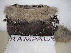 973d8ab854 RAMPAGE BROWN FAUX LEATHER FAUX FUR SMALL BAG PURSE w  ZIPPER COIN ...