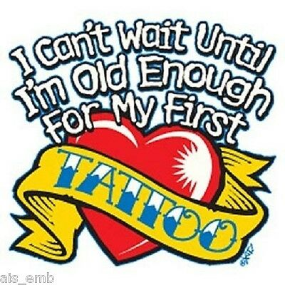 First Tattoo Kid's HEAT PRESS TRANSFER for T Shirt Sweatshirt Tote Fabric #420e