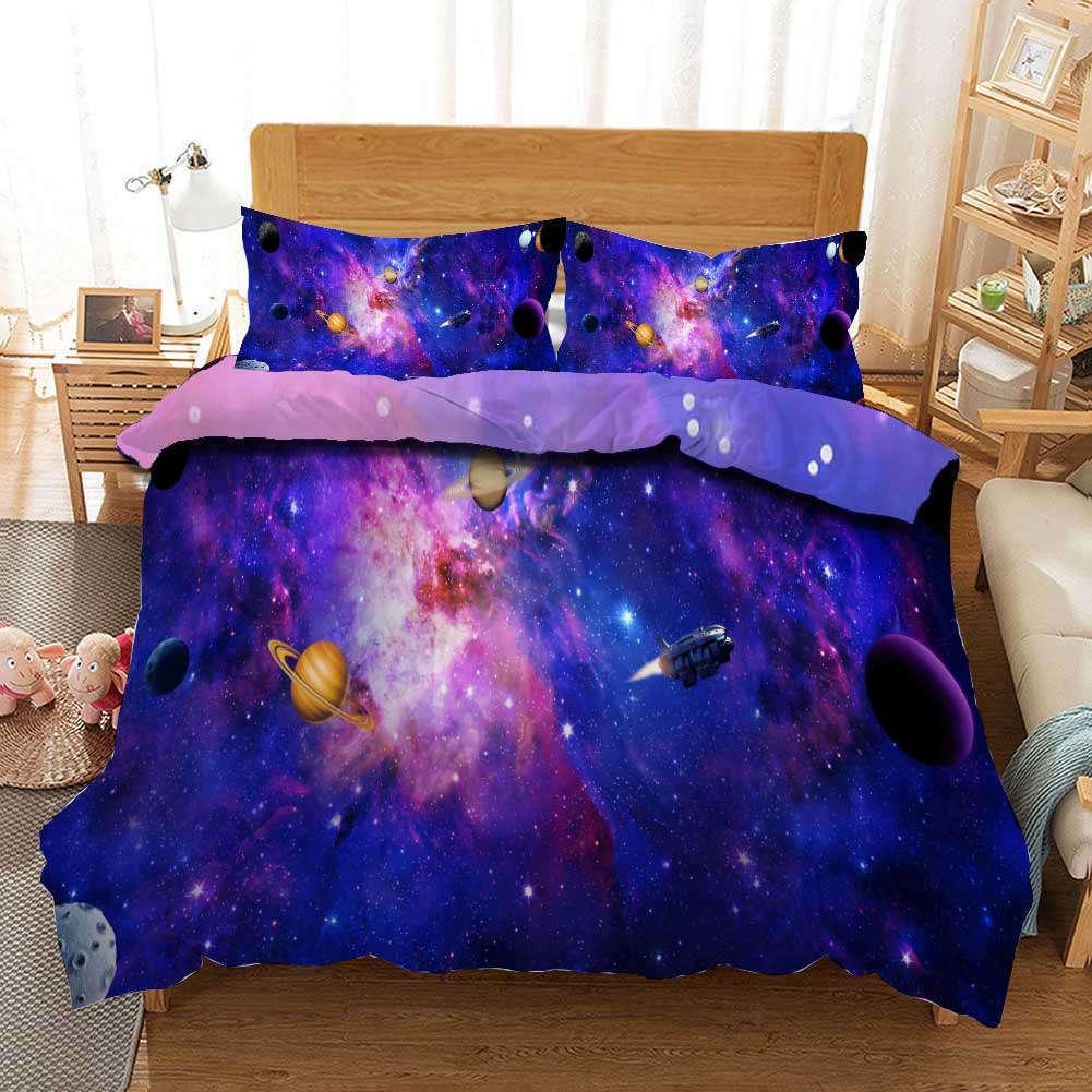 bleu violet Planet 3D impression couette courtepointe volonté des couvertures PilFaible cas literie ensembles