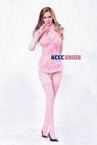 1//6 Pink Lace Dress Lingeries Stockings For PHICEN Hot Toys Female Figure U.S.A.