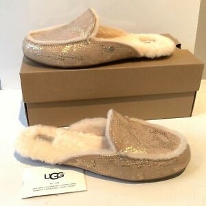 WOMEN-039-S-UGG-PANTOFOLE-MISURE-UK-5-6-Oro-Metallico-Snake-Mocassino-Slip-On-Pelle-Scamosciata-in