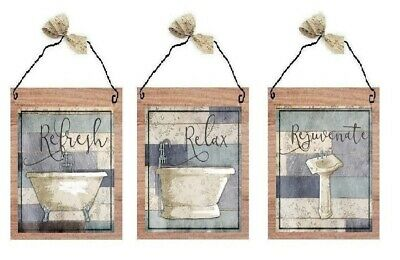 Paris Bathroom Pictures Relax Refresh Bath Tub Sink Wall Hangings Blue Plaques