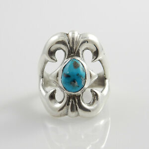 Unique-Navajo-Handmade-Sterling-Silver-Men-039-s-Turquoise-Ring-Size-10