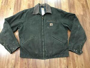 MENS-L-TALL-Carhartt-J97-Sandstone-Distressed-Blanket-Quilt-Lined-Detroit-Jacket
