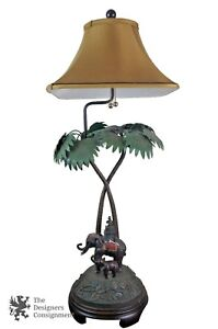 Details About Frederick Cooper Figural Bronze Table Lamp Elephants Monkey Palm Tree Palanquin