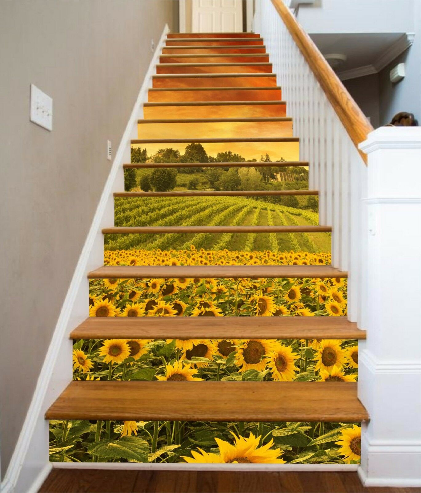 3D Sunflowers 021 Stair Risers Decoration Photo Mural Vinyl Decal Wallpaper AU