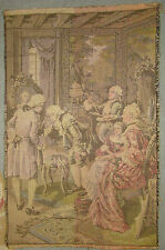 """Vintage French Parlour Scene Tapestry 17 3/8"""" x 11 3/8"""""""