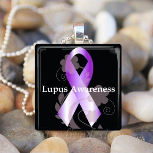 "/""LUPUS AWARENESS/"" LUPUS SUPPORT PURPLE RIBBON GLASS PENDANT NECKLACE KEYRING"