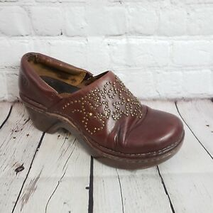WOMENS-7-ARIAT-BURGUNDY-OIL-LEATHER-STUD-CLOGS-LOAFERS-BROWN-SHOES