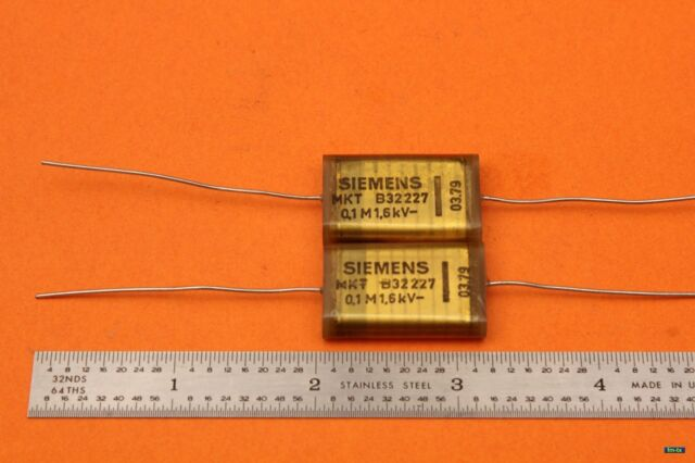 2pc Siemens B32227 Mkh Mkt 100nF 0.1uF 1600V 1.6kV Poliéster Condensador Tubo
