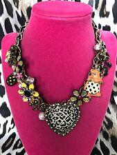 Betsey Johnson Vintage Safari Monkey Leopard Lucite Heart Hippo Lion Necklace