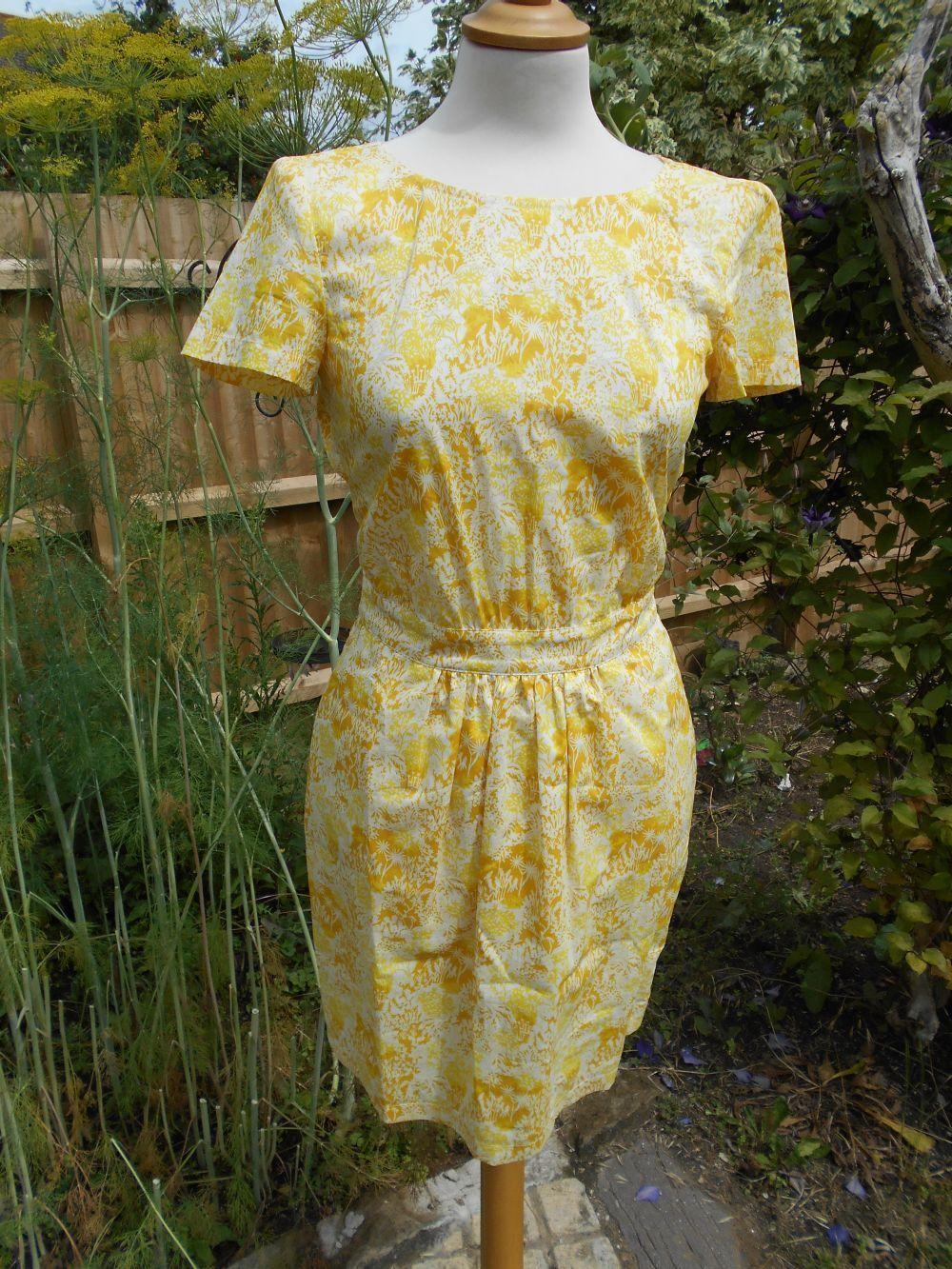 Sessun Liberty Tana Lawn Cotton Soft Gelb Dress Backless BNWT Wedding Races S