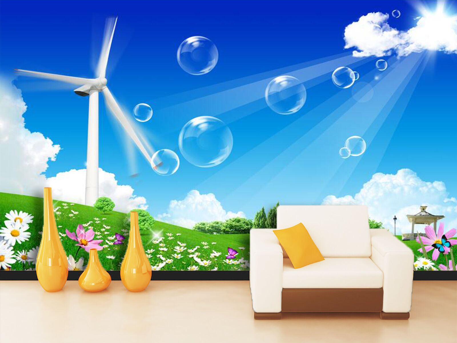 3D Wildflowers Windmill Sky 023 Wall Paper Wall Print Decal Wall AJ WALLPAPER CA