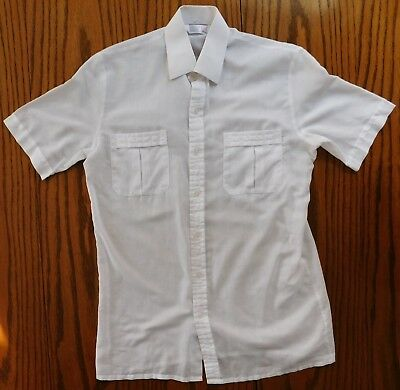 "Vintage 1970s M&S short-sleeve shirt collar size 14.5"" 2 pockets white UK made"