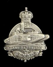 WW1 1ST CANADIAN TANK BATTALION BADGE SOLID SILVER