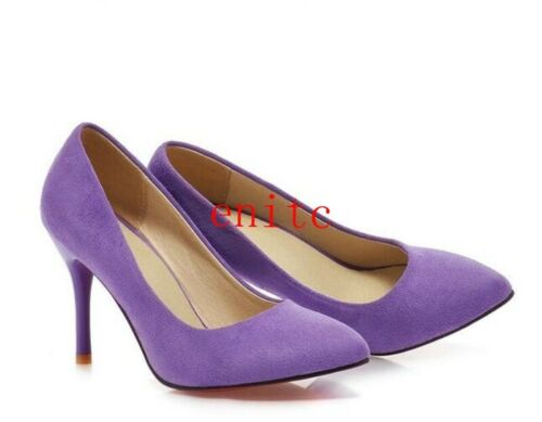 OL Womens High Heels Pointy Toe Shallow Stilettos Faux Suede Casual Work Shoes
