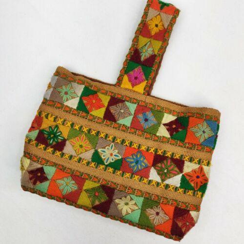 Small Medium Vintage 1960s Burlap Tiki Tan Woven Top with Embroidered Monogram Letters /& Fringe Hem