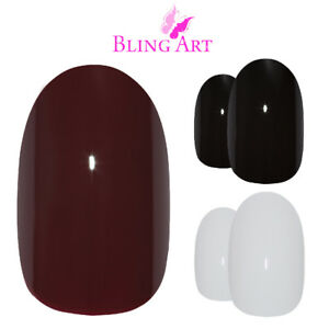 Bling-Art-Oval-False-Nails-Black-Red-White-Maroon-Polished-Fake-Medium-Tips-Glue