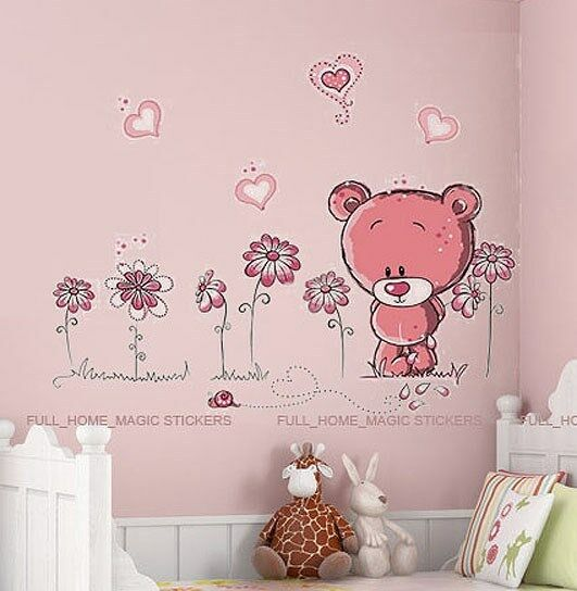 Pink Teddy Bear Wall Stickers Art Decal Paper Baby Child Nursery ...