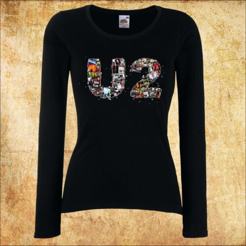 Femmes Women Lady Black T-shirt u2 1 ROCK manches longues//manches courtes