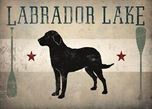 LABRADOR-RETRIEVER-BLACK-DOG-LAKE-PRINT-RETRO-ADVERTISING-POSTER