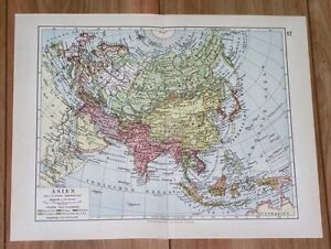 1928 original vintage political map of asia india china indonesia image is loading 1928 original vintage political map of asia india gumiabroncs Images