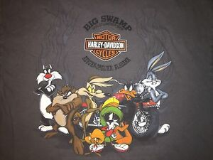 harley davidson looney tunes dealer t-shirt big swamp auburn