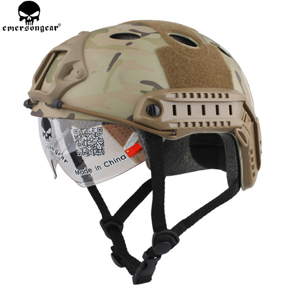 EMERSON Tactical PJ Type Airsoft Fast Helmet With Predective Goggle  Glasses MC  stadium giveaways