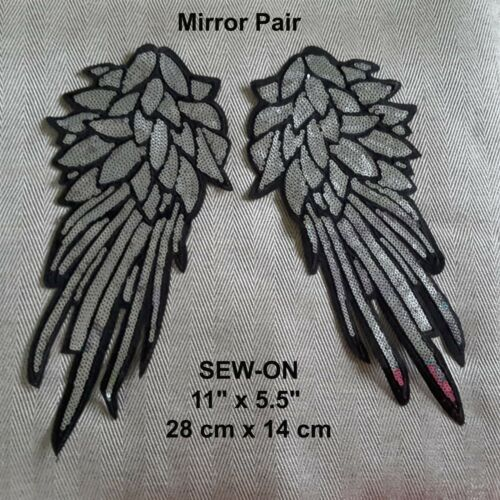 Wings Mirror Pair Gold Sequins Embroidered Iron-on Patch Dance Costume Applique