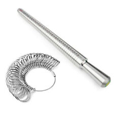 Sliver Metal Ring Sizer Gauge Mandrel Finger Sizing Measure Stick Standard Tool