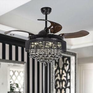 Details About 46 Crystal Chandelier Fan Modern Ceiling Fan Lights Led Retractable Blade Black
