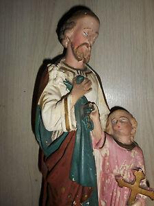 ANCIENNE-STATUE-RELIGIEUSE-SAINT-JOSEPH-ET-L-039-ENFANT-JESUS-PLATRE-H-46-cm-N-1