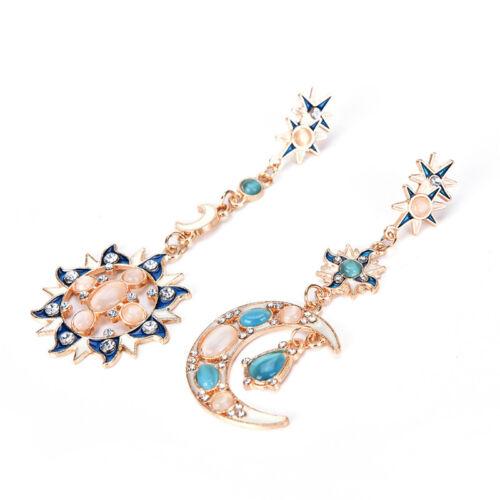 New Style Fashion Star Sun Moon strass cristal Stud Dangle jolies Boucle d/'oreille TS