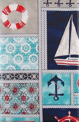Various Sizes Marine Nautical Patchwork Vinyl Flannel Back Tablecloth