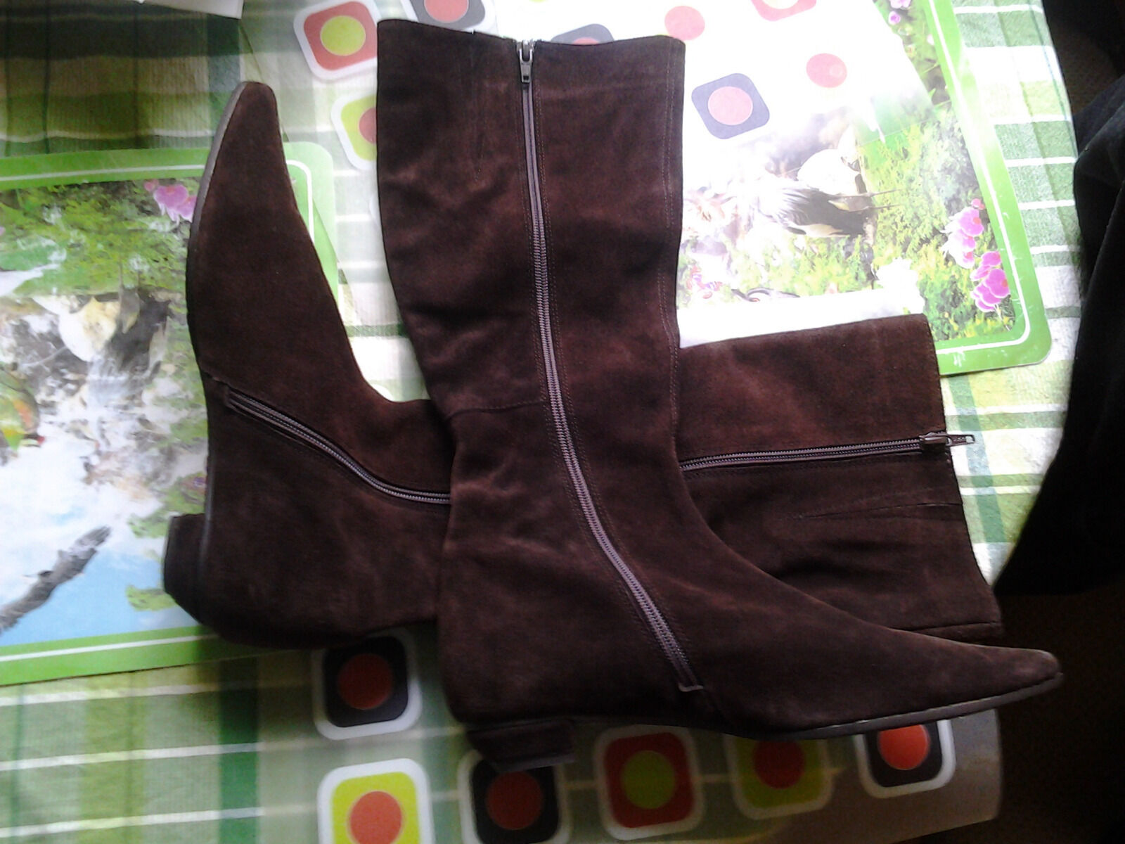 SUEDE HIGH BOOTS BROWN BROWN BROWN 38 SIZE a05875