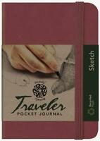 Pentalic Art Traveler Pocket Journal Sketch Book, 6 X 4, Burgundy, New, Free S