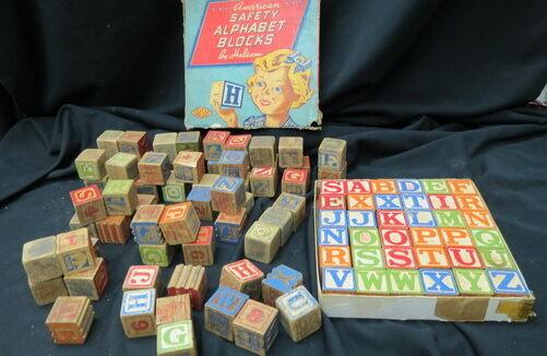 101 Vintage Para Niños Madera seguridad Bloques   36 Completo En Caja Original   Misc