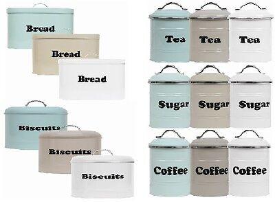 4 piece tea coffee sugar Stockage Boîte Métallique Étain Jar Pot Conteneurs /& pain bin set