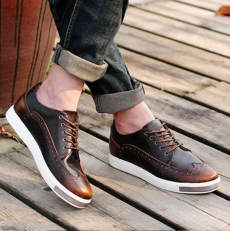 Mens Brogue Lace Up Flat Heels Retro Sneakers Running Trainers Mixed color V570