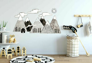 Details About Hand Drawn Mountain Wall Sticker Kids Baby Nursery Decor Vinyl Decal Mural Gift