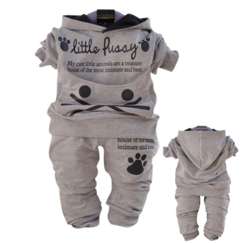 Toddler Unisex 2PC Outfit Sets Sport Style Cat Pullover Hoodie Size 1-4 YRS