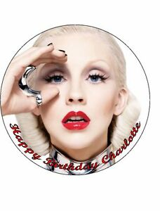 Christina aguilera 7.5 edible icing birthday cake topper